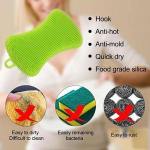 Image 5 - סיליקון צלחת כביסה מברשת סיר מחבת נקי Scrubber מטבח ניקוי כלי צלחת/סיר/צלחת כביסה אנטיבקטריאלי טחב משלוח מברשת