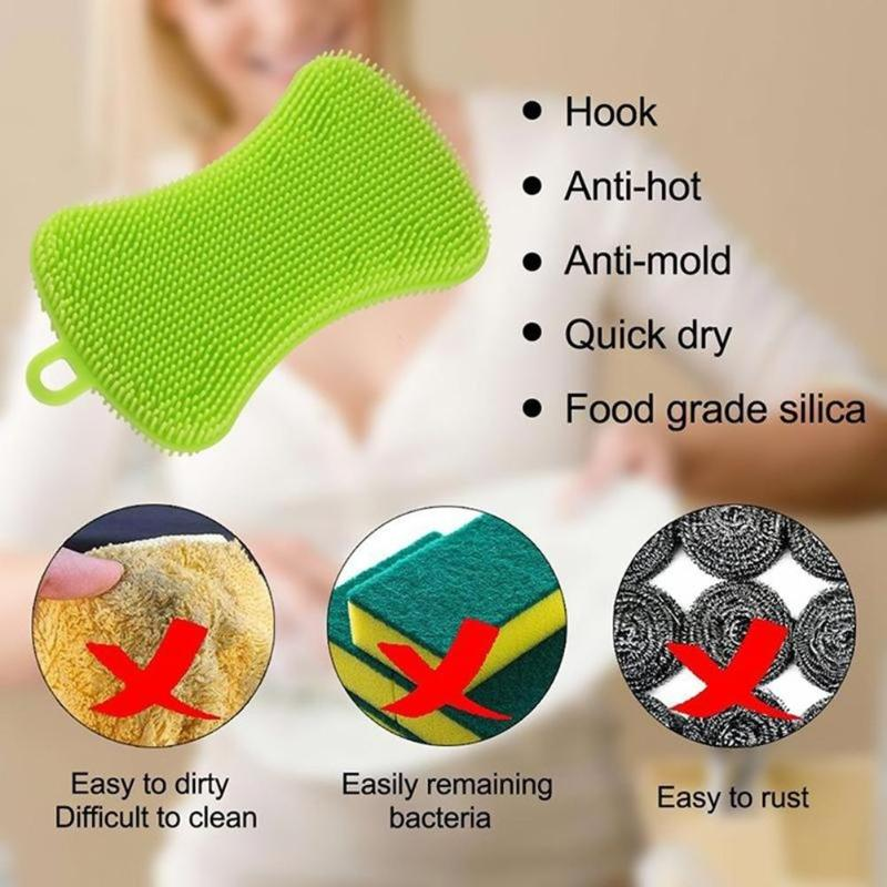 Image 5 - Silicone Dish Washing Brush Pot Pan Clean Scrubber Kitchen 