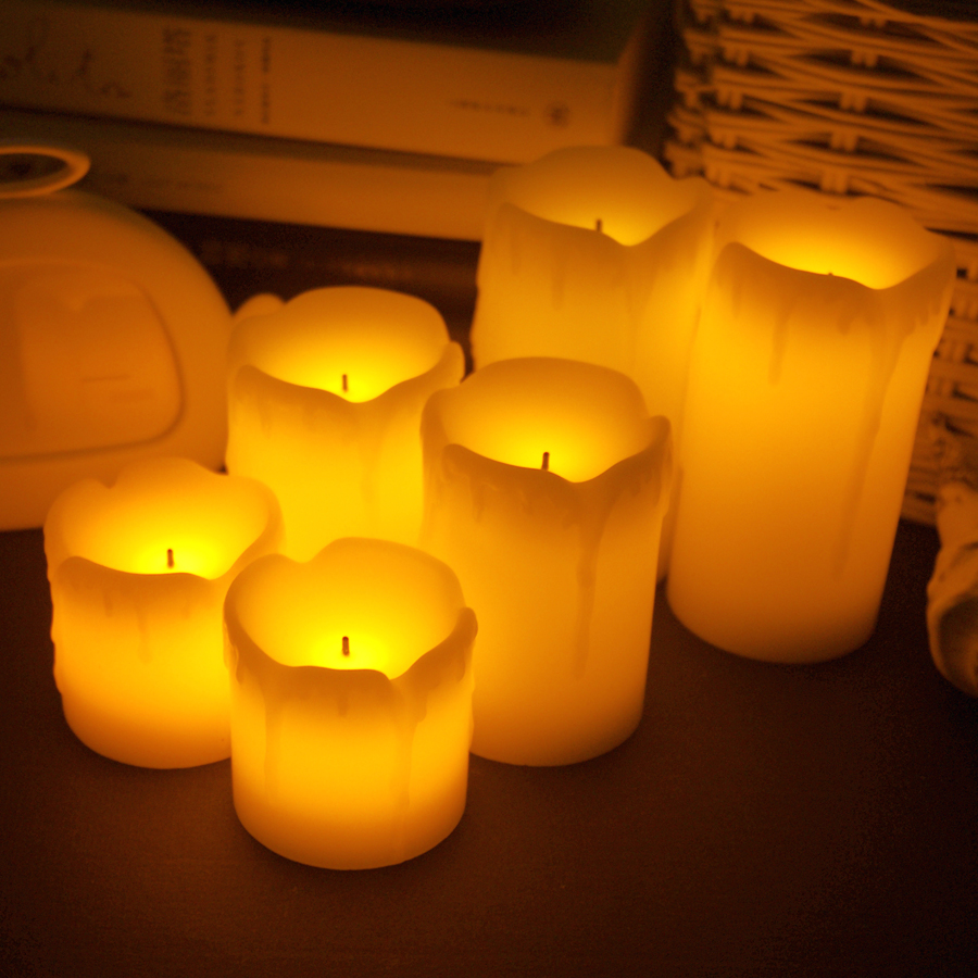 3pcs/lot Flameless Electronic LED Candles Lamp Cylindrical Flickering Yellow LED Tea Light Wedding Party Decoration Gifts New