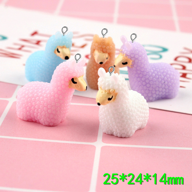 10pcs 3D 25*24mm Cute little sheep resin lama Alpaca charms micro landscape creative  accessories Keychain pendant DIY material