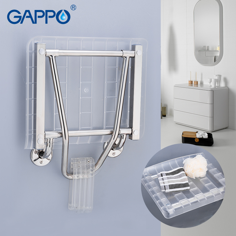 GAPPO Wall Mounted Shower Seats Shower Folding Seat Wall Mounted Shower Seat White Stool Folding Toilet Chair For Elderly