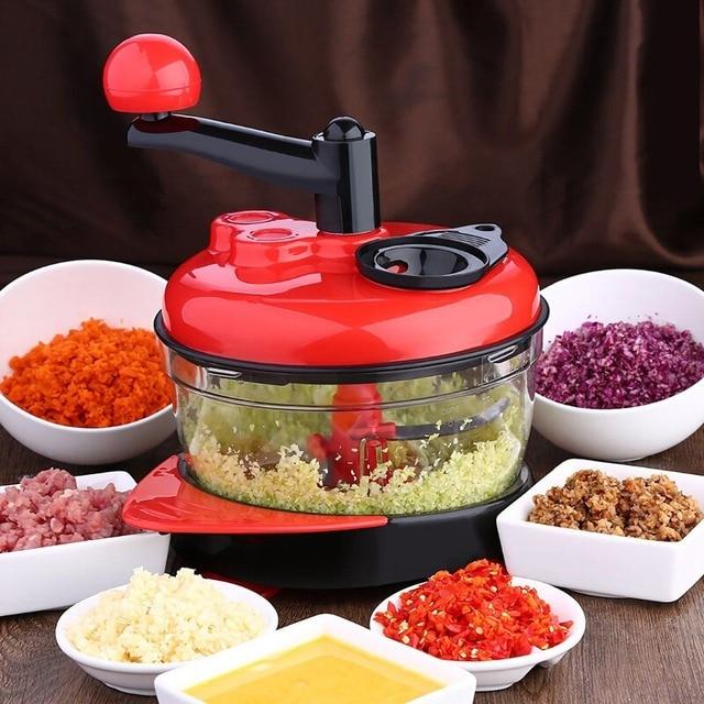 1.5L Multi-Função Cortador Manual De Liquidificador Processador de Alimentos Moedor de Carne Vegetal Chopper Shredder Cortador de Ovo Liquidificador Salada de Frutas