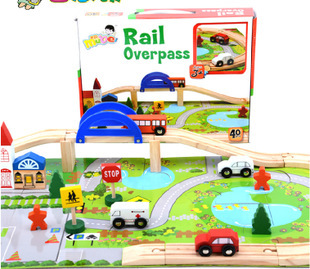 Montessori Preschool 40PC Urban Rail Overpass Traffic Scene Preschool Children's Educational Wooden Toy Train Track Disassembly 80pcs slot car track toys rail road train bus set square city traffic scene wooden rail track locomotive toys for children