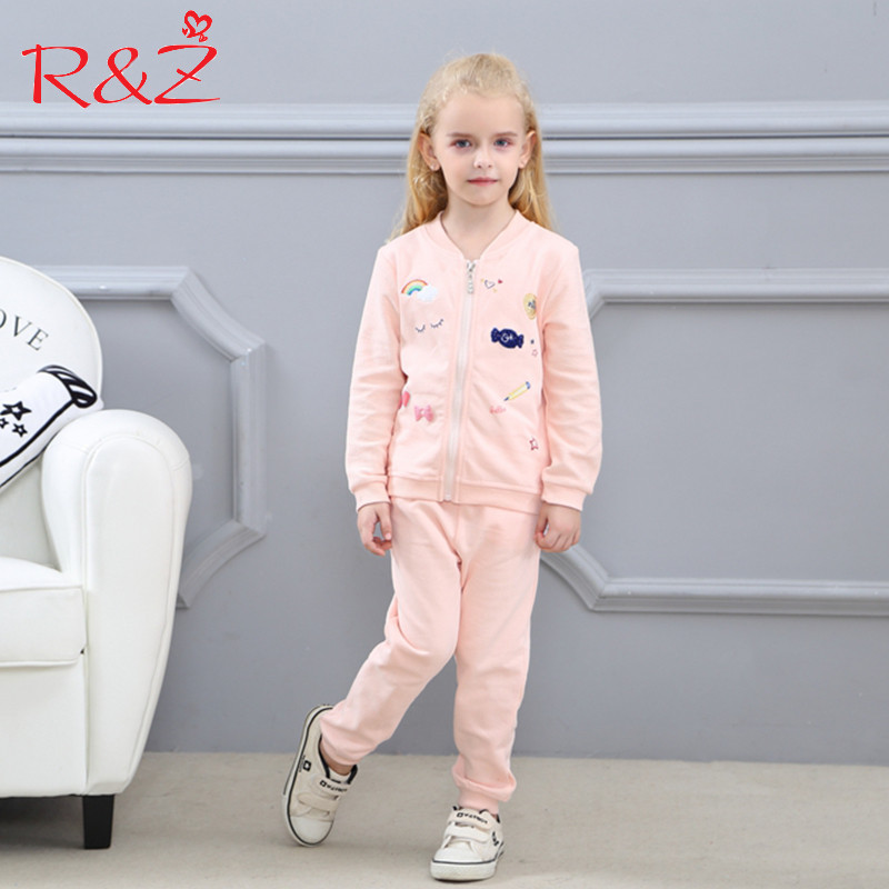 R&Z Baby Girls Clothes Set 2017 Autumn Printed Zipper Long Sleeve Cotton Jacket + Casual Pants 2pcs Sports Kids Clothing Suit keaiyouhuo newborn baby spring autumn girls clothes set rabbit cotton coat pants 2pcs set kid 0 2y girls pure clothes clothing