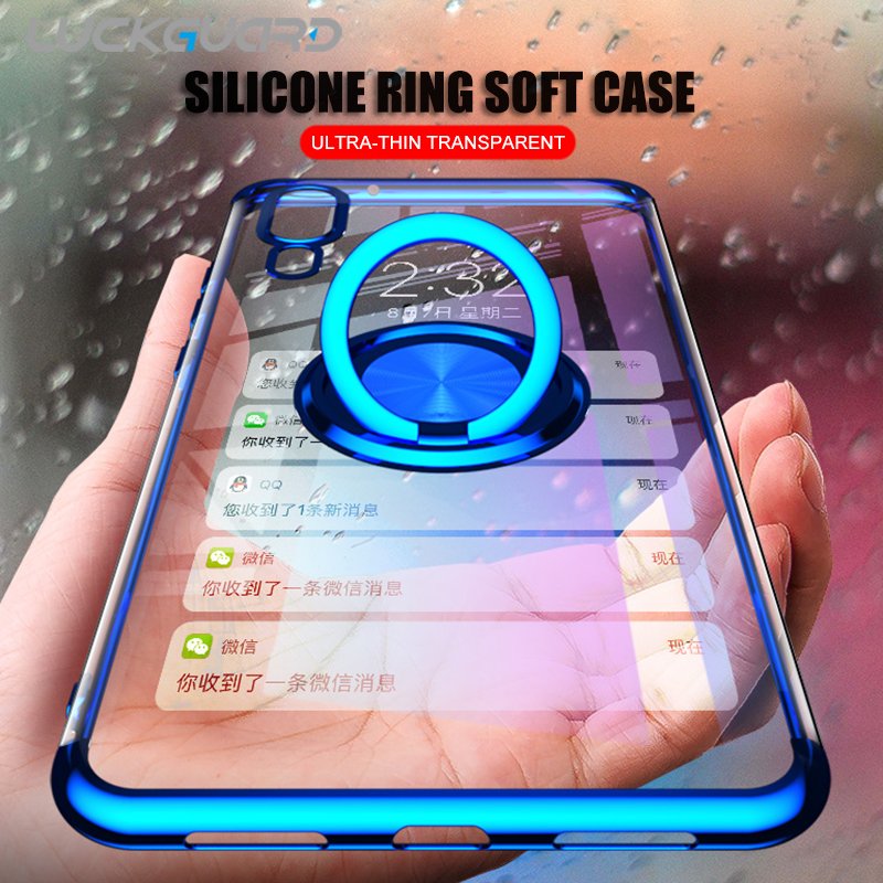 Slim Silicone Plating Case For Huawei P30 P20 Pro Mate 20 10 Lite Honor V10 V20 Soft Magnetic Ring Holder Clear Back Cover TPU image
