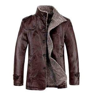 Image 4 - 2019 plus size 7xl 8xl inverno nova jaqueta de couro de veludo dos homens gola casaco de couro do plutônio masculino solto marca roupas