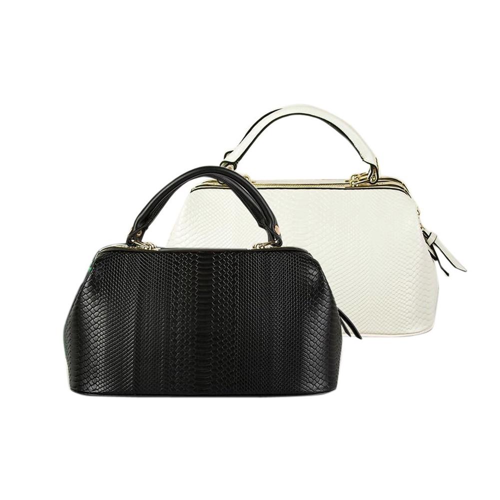 Ladies Fashion Vintage Style Women PU Leather Tote Handbag Crossbody Shoulder Messenger Bag Black White High Quality 35