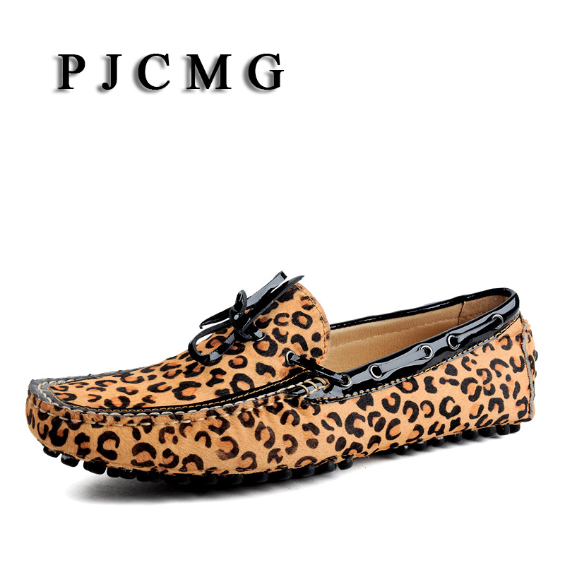 PJCMG New Fashion Men's Casual Animal Prints Genuine Leather Boat Slip-on Flat Leopard Pattern Moccasin Men's Loafer Shoes fashion tassels ornament leopard pattern flat shoes loafers shoes black leopard pair size 38