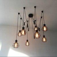 خمر الشمال العنكبوت قلادة مصباح متعددة قابل للتعديل الرجعية قلادة أضواء Loft تركيبات إضائة ديكور كلاسيكي Led المنزل