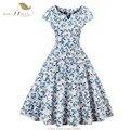 SISHION Лето Dress S-4XL Плюс Размер Женщины Cap Рукавом Синий белый Черный Горошек Цветочный Принт Ретро Свинг Vintage Dress VD0414