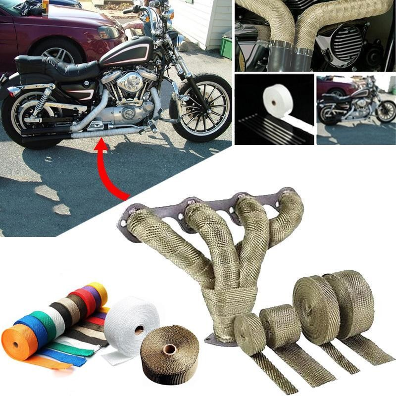 Car Motorcycle Exhaust Pipe Header Heat Wrap Turbo Mainfold Heat Exhaust Thermal Wrap Tape Stainless Steel Ties 1.5mm*25mm*5m(China)