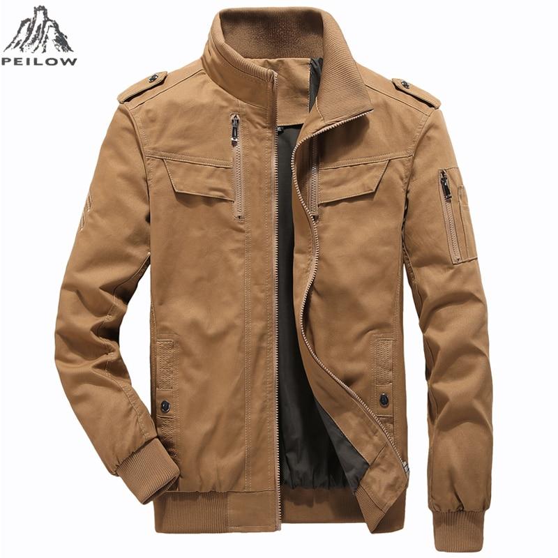 Autumn New Men's Bomber pure cotton Jacket Male Casual for Streetwear Hip Hop Pilot winter Coat Men Clothing size M~5XL 6XL