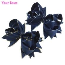 Твои банты, 1 предмет, 5 дюймов военно-морской флот бутик заколки для волос для девочек заколки сплошная корсажная лента с бантом из ленты для девочек, женские аксессуары для волос