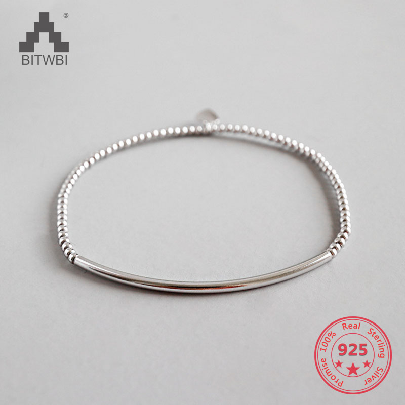 925 Sterling Silver Jewelry Pure Handmade 2mm Round Beads Pipe Elastic Bracelet