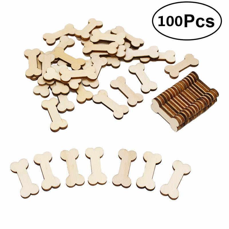 100pcs Unfinished Wood Cutout Dog Bone Shaped Wood Pieces