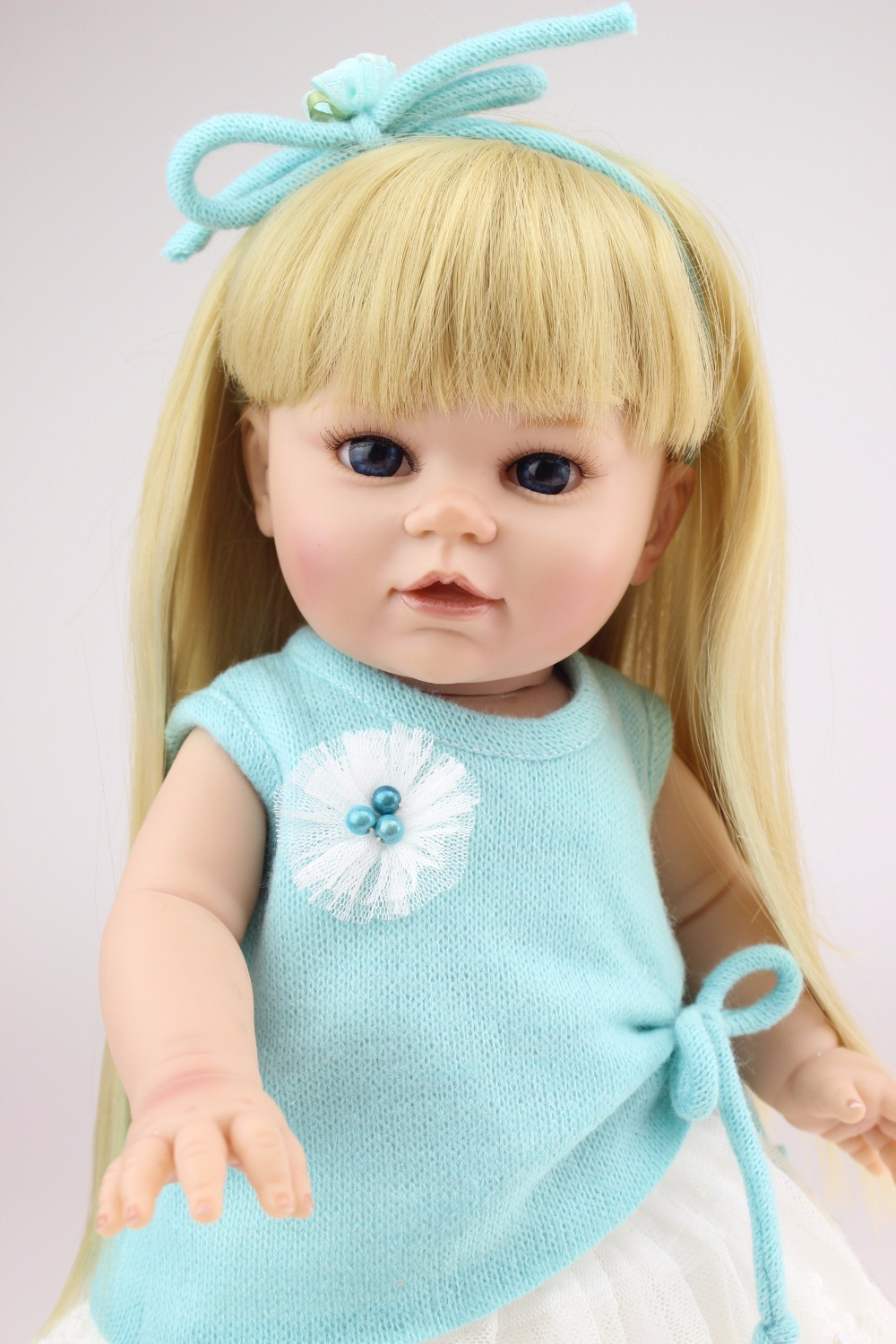 Buy New Style 16 inches Baby Doll Fat American Girl Design Reborn Living doll Soft Solid Silicone Toys Free Shippinh