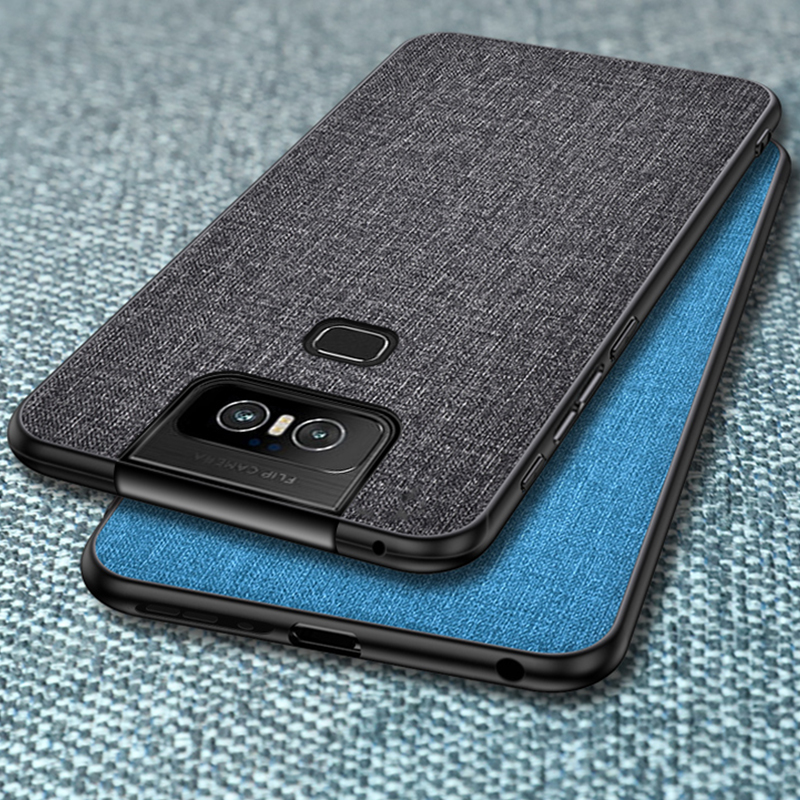 Luxury Cloth Fabric Case for <font><b>Asus</b></font> <font><b>Zenfone</b></font> <font><b>6</b></font> <font><b>ZS630KL</b></font> Leather Soft TPU Frame Hard PC Cover Case for <font><b>Zenfone</b></font> <font><b>6</b></font> <font><b>2019</b></font> Shockproof Case image