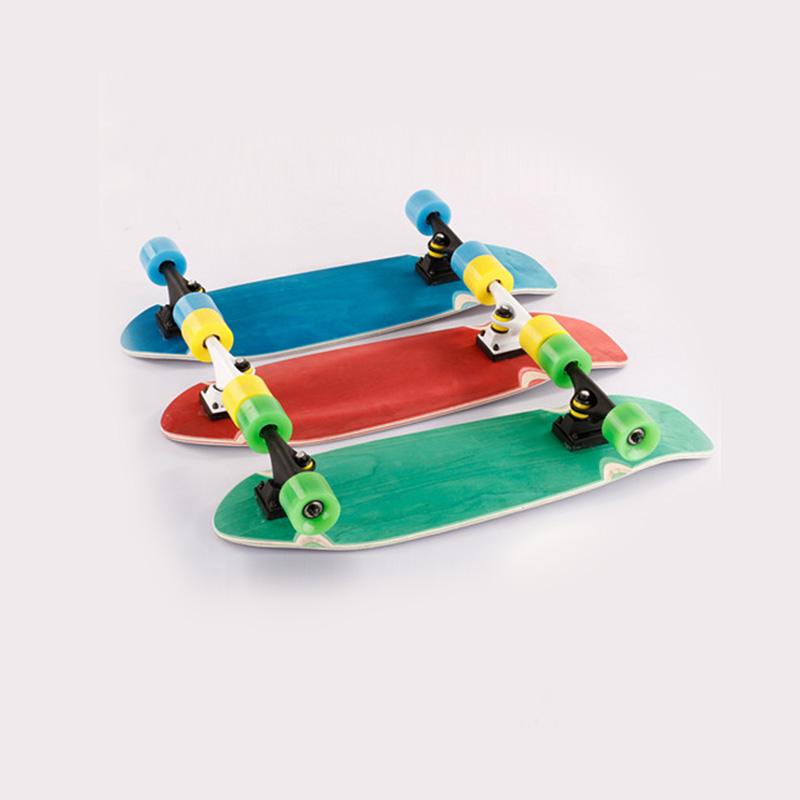 26ich Fish Board Single Rocker Skateboard Silent Grip Anti-Skid Surface Fish Board Portable Child Adult Skateboard