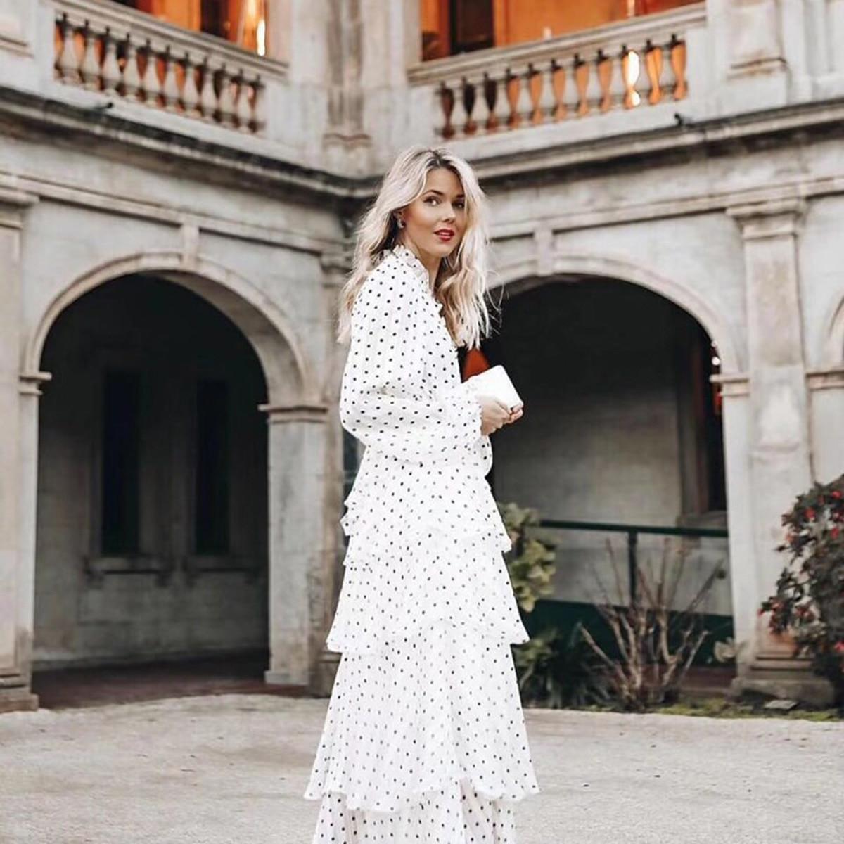 Bohème Karina Sexy Maxi robe pour femmes Automne D'été à manches longues Volants Garniture Polka Dot Imprimer conduites de carburant Élégant des vêtements formels
