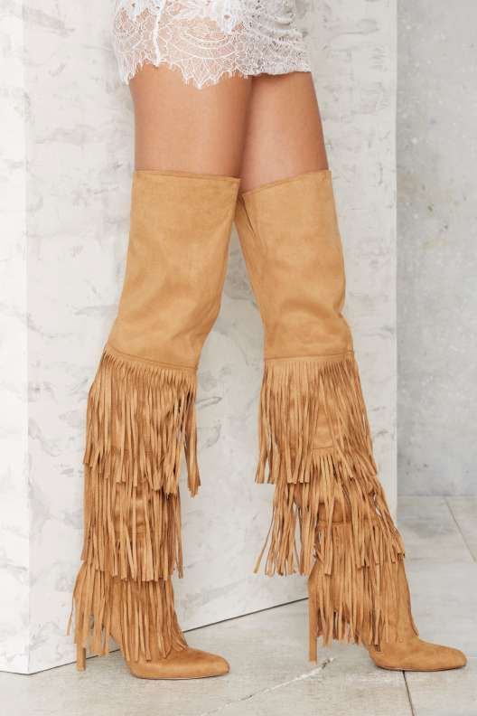 Over the knee women boots pointed toe super high thin heels fringe design women Autumn thigh high boots tassel shoes khaki stylish women s knee high boots with tassel and black design