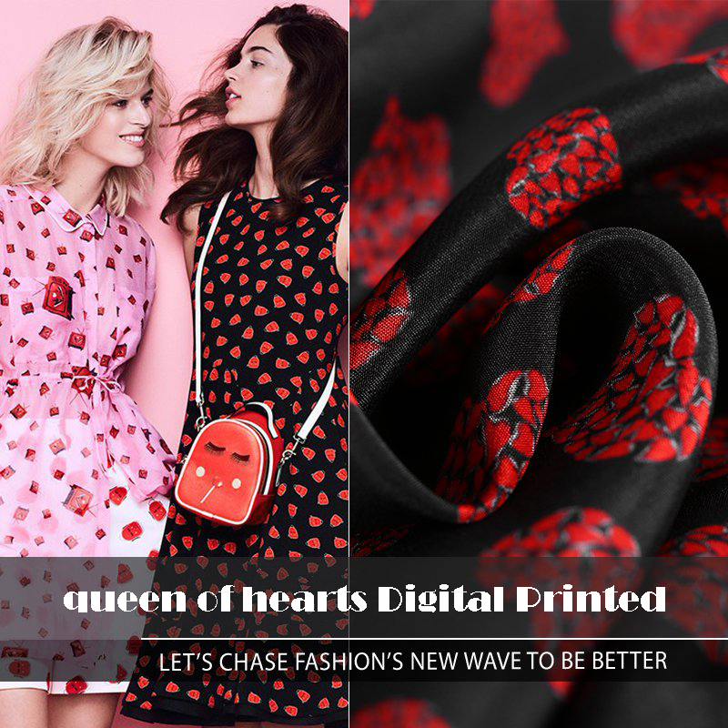 High end custom Queen Of Hearts Digital Printed 100%Silk Fabric For Summer Dress 16Momme Crepe De Chine For DIY Sewing Shirts