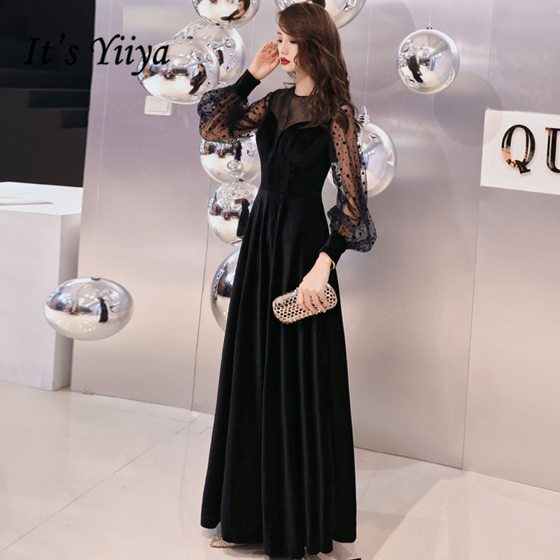 It's YiiYa   Evening     Dress   Black Dot Print Long Party Gowns Simple Full-sleeves Floor length Wedding Formal   Dresses   E331