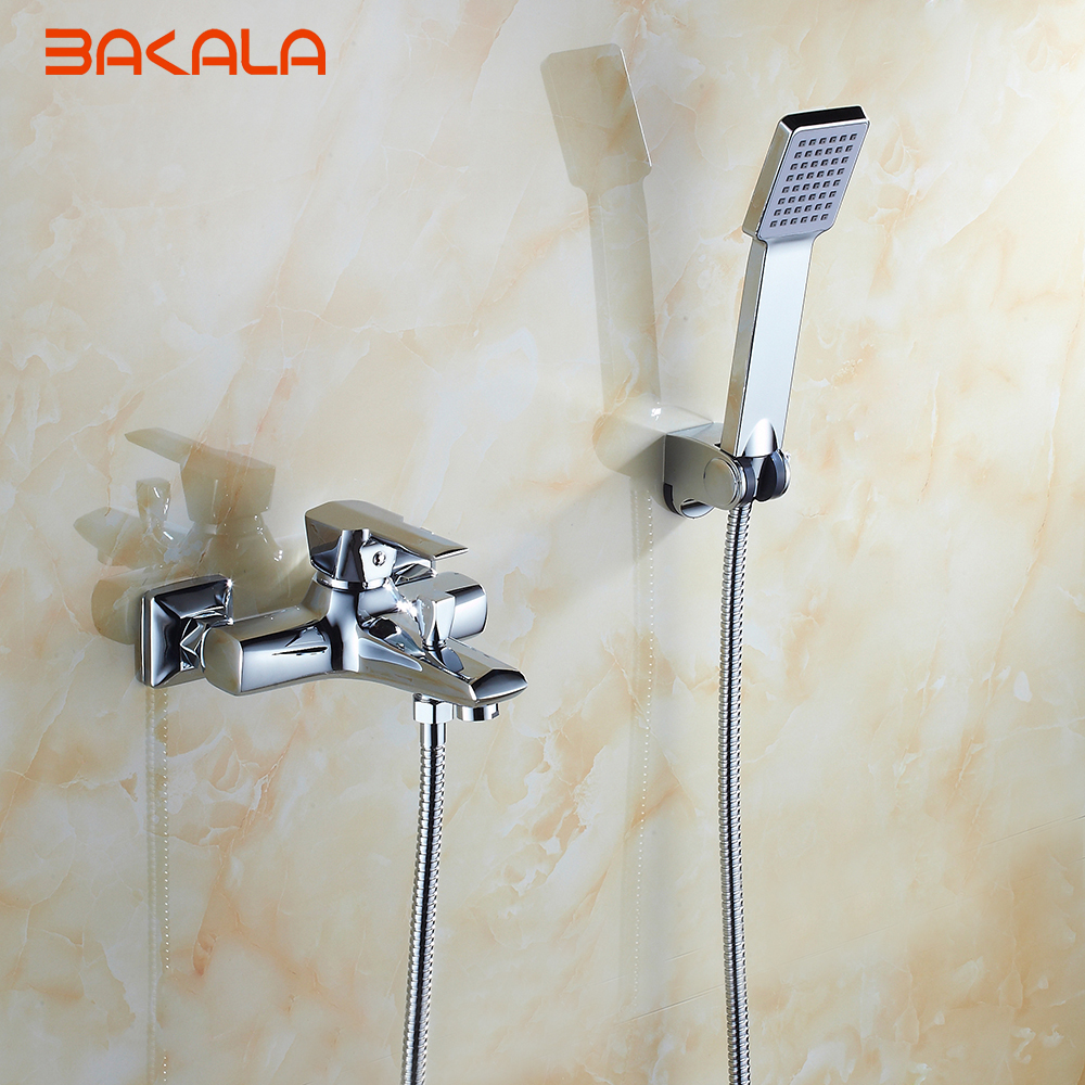 BAKALA 1 Set Classic Style Single Handle Solid Brass Bathroom Faucet Shower Tap Cold and Hot Water Mixer G9606 micoe hot and cold water basin faucet mixer single handle single hole modern style chrome tap square multi function m hc203