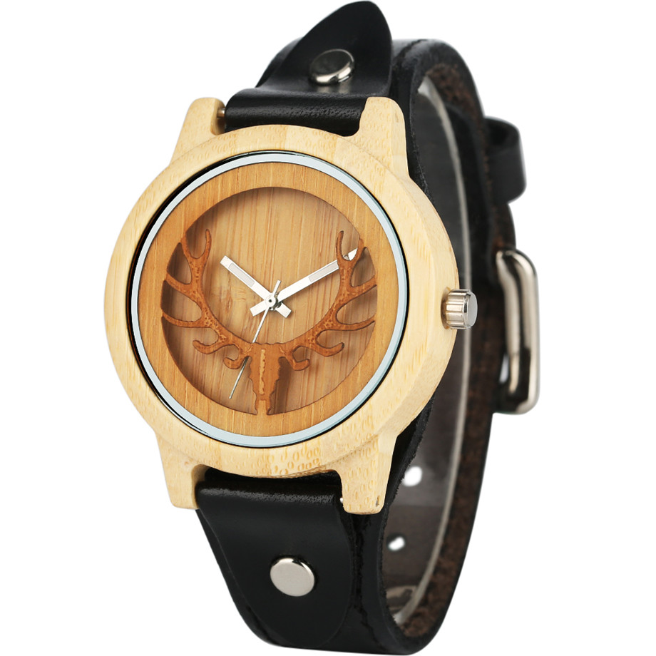 Steampunk Men Wooden Watch Skeleton Elk Head Carving Dial Black Punk Bracelet Creative Teenagers Wood Wristwatch Cool Gift Clock (2)