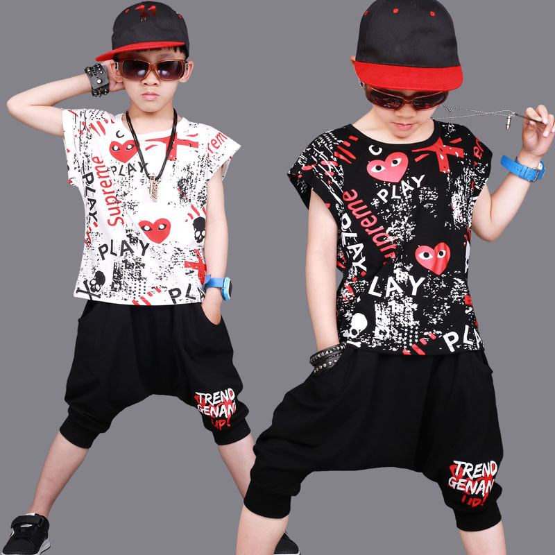 Children clothing sets summer hip-hop boys clothes short-sleeved kids Sports suit dance jazz dance performance baby boy Outfits