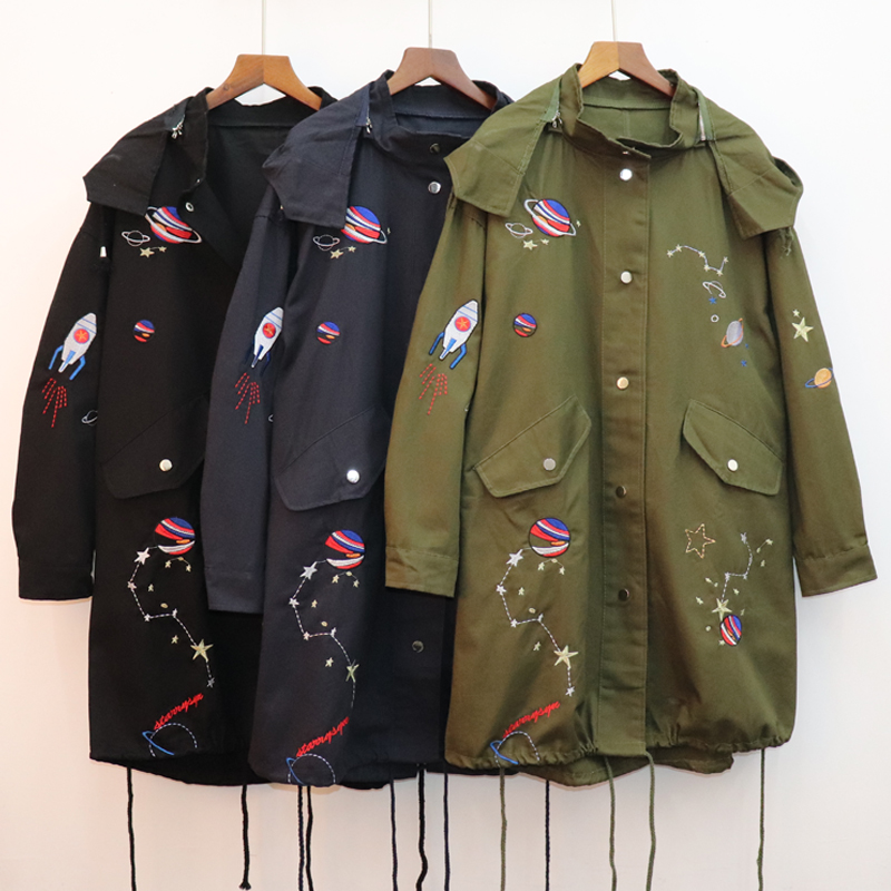 Feminino Casaco long   trench   coat women spring loose hooded Embroidery Pattern outwear windbreaker female Street wear Overcoat