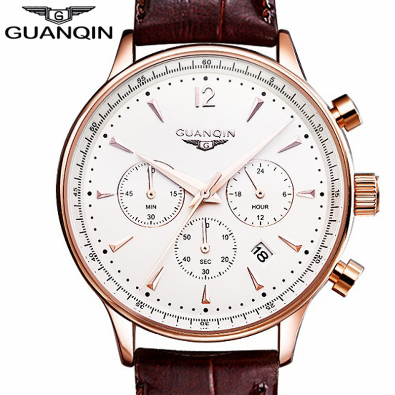 ФОТО GUANQIN Mens Luxury Top Brand Watches Men Sport Leather Quartz Watch Men's Casual Wristwatch relogio masculino Male Clock