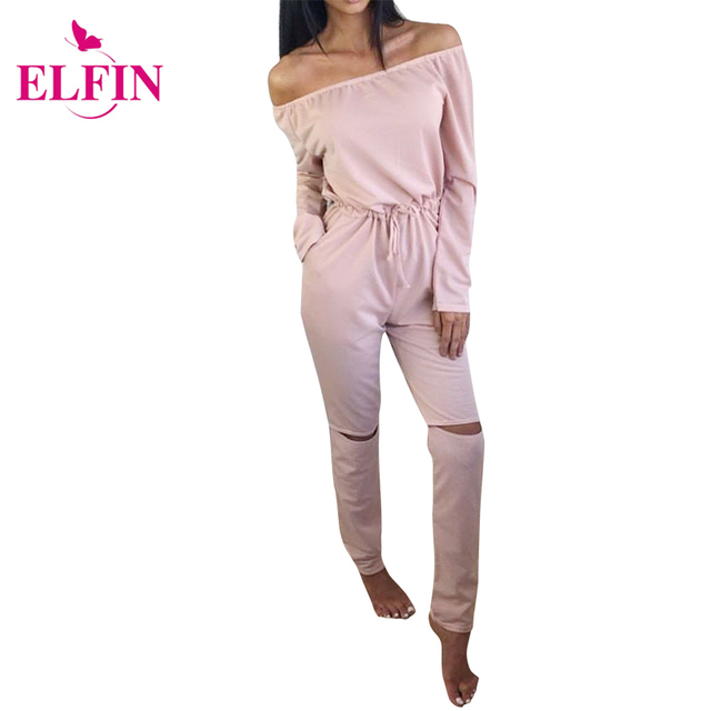 2017 Autumn Women Jumpsuit Cut Out Off Shoulder Fashion Long Sleeve Rip Knee All In One Ladies Casual Jumpsuits LJ4921R