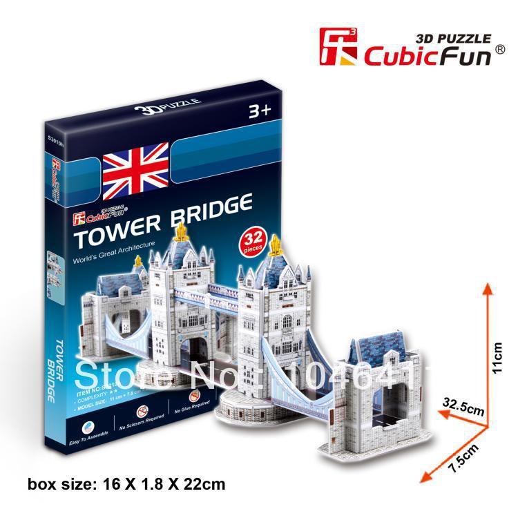 Tower Bridge CubicFun 3D educational puzzle Paper & EPS Model Papercraft Home Adornment for christmas gift petronas towers cubicfun 3d educational puzzle paper