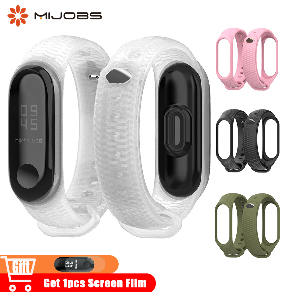 Mijobs Mi Band 4 Wrist Strap Silicone Band For Xiaomi Mi Band 3 Bracelet Miband 4 Wristband Straps Band3 Smart Watch Accessories
