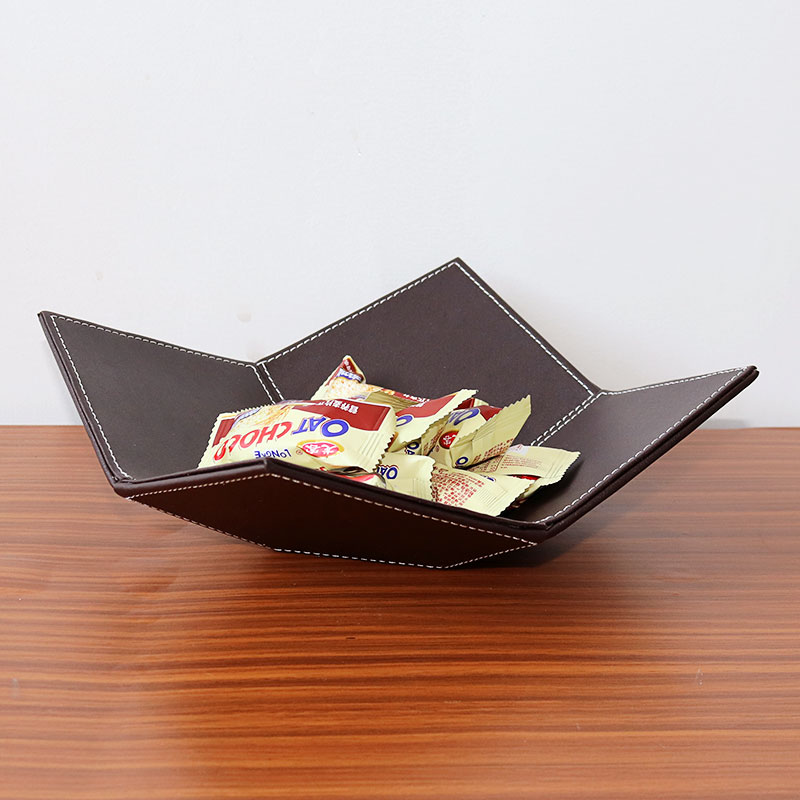 590cb4aa9113 US $24.5 35% OFF|Creative Leather Table Organizer Hallway Storage Trays for  Keys/Coins Modern Style Snacks/Candies Plates Home/Shop Decor-in Storage ...