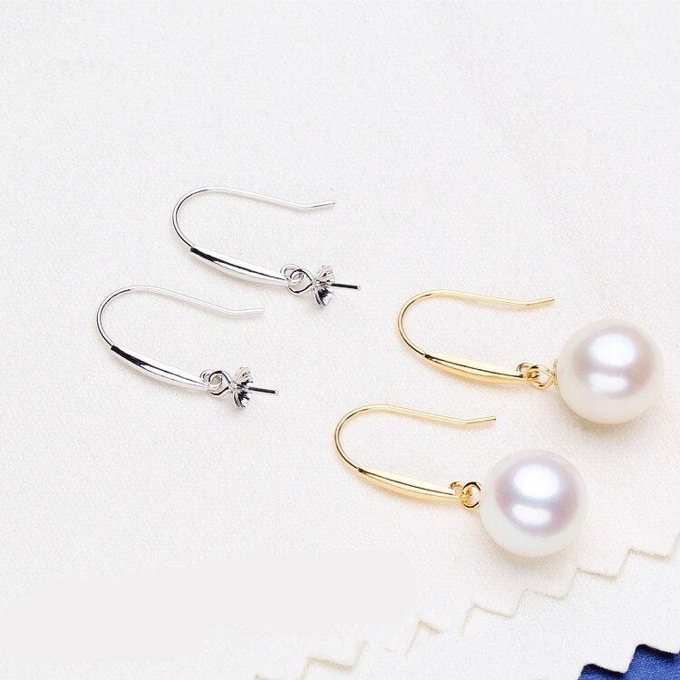 Crochets de boucles d'oreilles en or 18 K avec capuchons de perles Eyepin, boucles d'oreilles en or blanc jaune avec perle solide