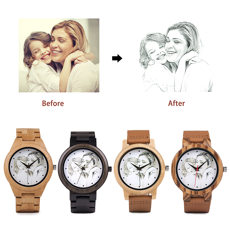 BOBO BIRD Custom Picture Watches Men Women Lovers' Quartz Analog Watches Casual Cool Watch Engrave Logo