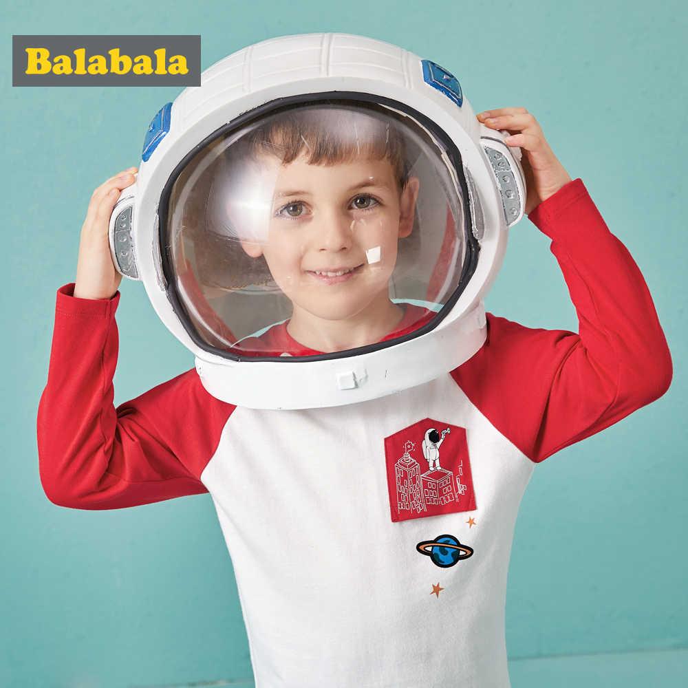 Balabala المغطاة بألواح تقسم الاطفال طويلة الأكمام تي شيرت للأولاد مع الأزياء رائد الفضاء الطباعة على جيب تي شيرت للبنين
