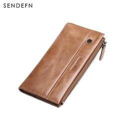 Falan Mule винтажные мужские кошельки из натуральной кожи Длинный повседневный мужской клатч-кошелек держатель для кредитных карт бумажник с