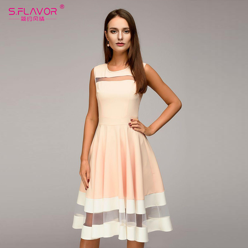 S.FLAVOR 2018 Women elegant knee-length dress sexy mesh patchwork O-neck A-line Vestidos women summer Sleeveless party dress
