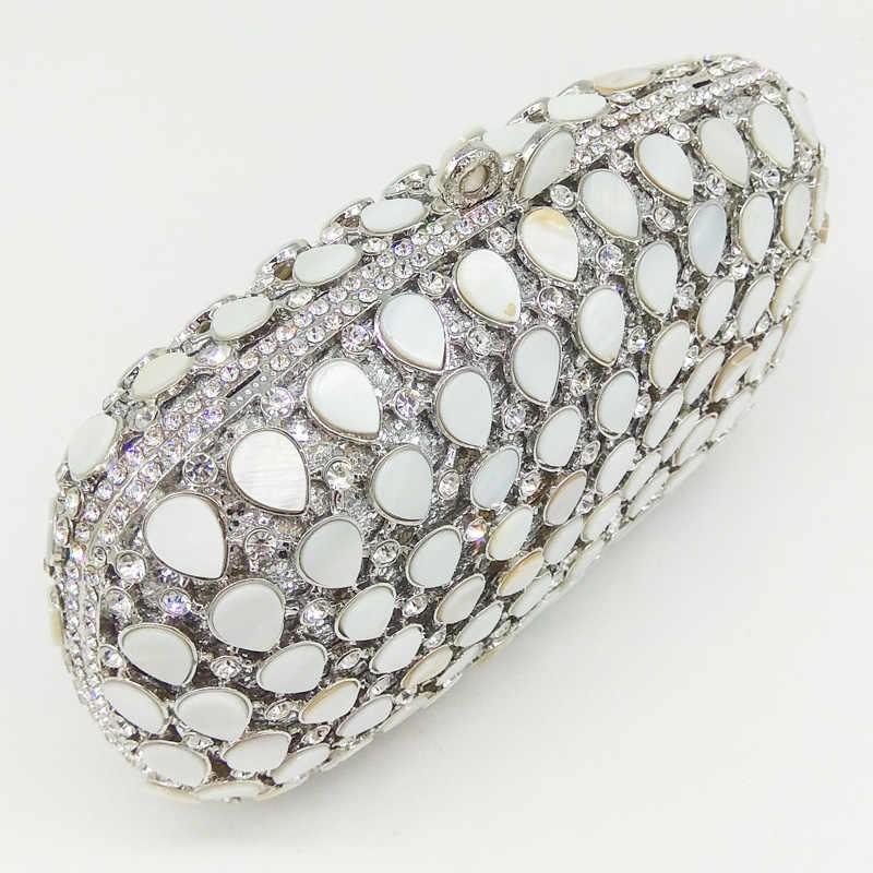 Boutique De FGG натуральный в виде ракушки и Кристалл для женщин Серебряный вечерняя сумка для вечеринки металла Minaudiere сумочка свадебный кошелек свадебные клатчи
