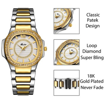 MISSFOX Fashion Designer Ladies 18K Gold Luxury Brand Diamond Women´s Quartz Watches 1