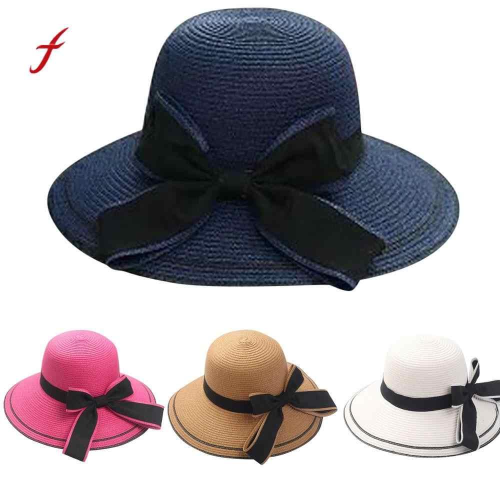 176bb3f0ff01 feitong Sun hat Floppy Foldable Ladies Women Bow Straw Beach Sun Summer Hat  Wide Brim pamelas