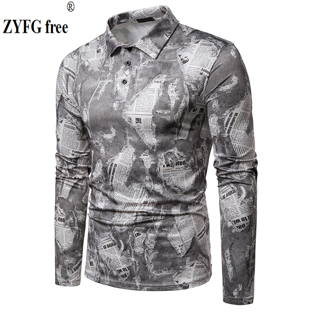 New simple wind men's turn-down collar   polo   shirt casual tops long-sleeved printed   polo   shirt youth popular style
