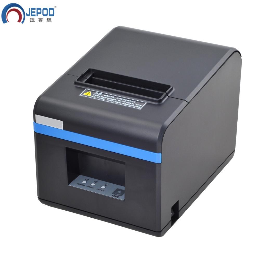 JEPOD XP N160II nouvelle arrivée 80mm automatique cutter reçu imprimante POS imprimante USB/LAN/USB + Bluetooth ports pour magasin de thé au lait