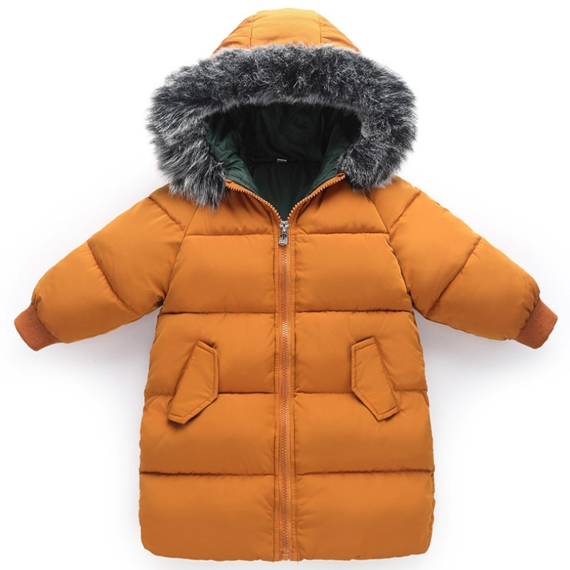 2018 New Fashion Toddler Boys Girls Winter Coat Kids Winter Jacket Warm Thick Fur Collar Hooded Long Down Coats Outerwear 2Y-6Y fashion long parka kids long parkas for girls fur hooded coat winter warm down jacket children outerwear infants thick overcoat