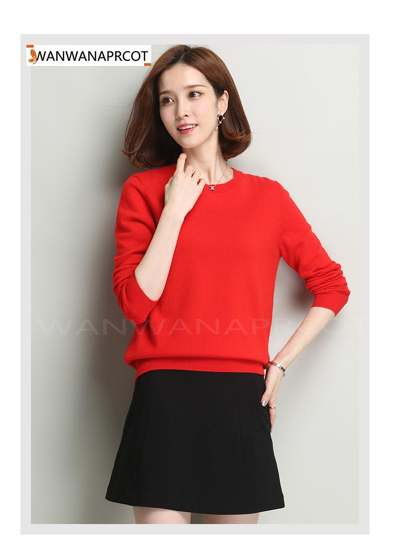 Sweater female womens knitted cashmere sweater slim o-neck sweater short design plus size pullover basic shirt ...