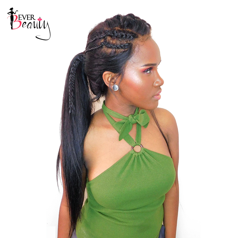 Ever Beauty 360 Lace Frontal Wigs 180% Density Straight Brazilian Remy Hair Natural Black Color