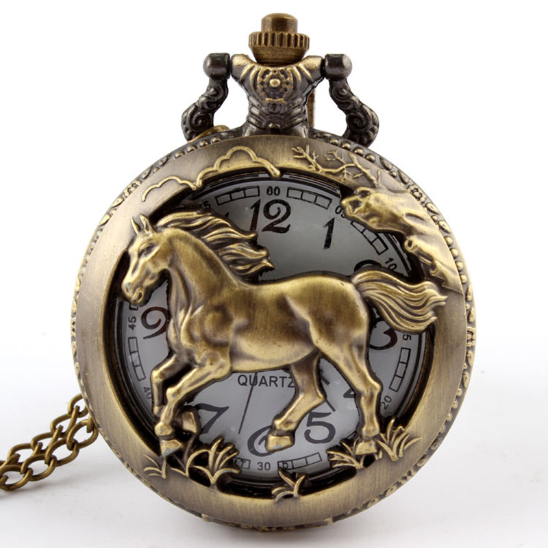 Dropshipping Bronze Horse Hollow Quartz Pocket Watch Necklace Pendant Womens Men GIfts P247