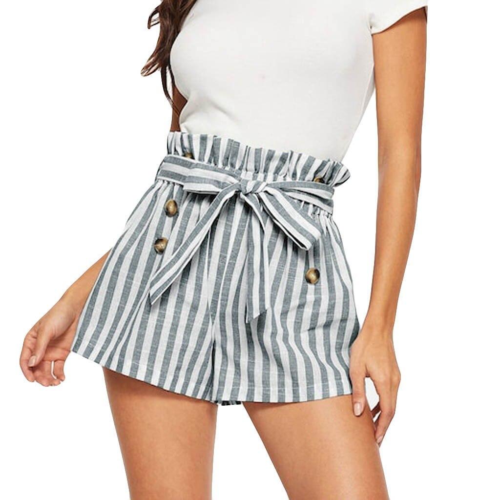 Women Tie Belt Striped Shorts Elastic Waist Wide Leg Bowknot Shorts Button Loose Hot Lady Summer Shorts Trousers 5.6